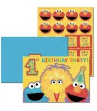 SESAME STREET 1ST BIRTHDAY PARTY SUPPLIES 20 X INVITE INVITATIONS PACK LICENSED