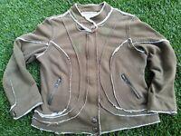 Nick & Mo Anthropologie Military Olive Green Hem Zip Sweatshirt Size L