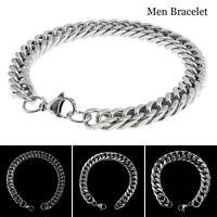 homme 20cm acier inox Silver bordure de chaîne de lien bracelet Chunky 12/10/8mm