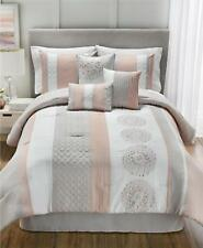 Hallmart Collectibles Crawford 7 Piece Queen Comforter Set Blush / Taupe $200