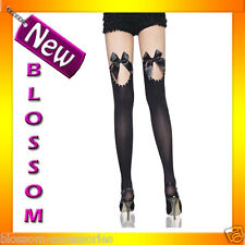 7813 Ladies Black Thigh High Costume Stockings /w Bows and Rhinestones