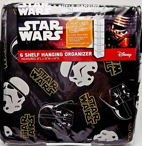 Boys Star Wars 6 Shelf Closet Organizer Darth Vader Storm Troopers Collapsible