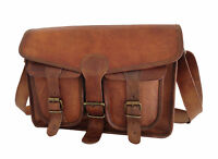 Vintage Leather Messenger Bag 13 In Laptop Satchel College School Crossbody Bags