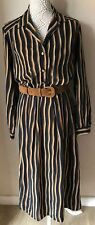 Mandy Marsh Ladies Vintage Black Brown Striped Belted Shirt Dress Size 16