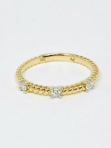 14k Yellow Gold Stackable Diamond Rope Ring