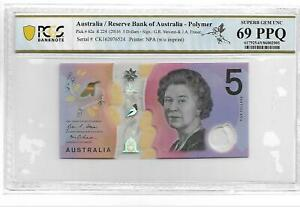 AUSTRALIA 2016 5 DOLLARS P#62a PCGS 69 PPQ SUPERB GEM UNC NOT PMG