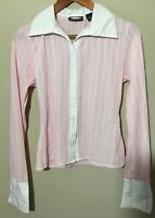 ZOEY BETH Womens Pink White VINTAGE Button Up Career Blouse Cuffed Sleeves Sz M