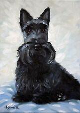MARY SPARROW Black Scottie Scottish Terrier Dog Puppy Oil Painting PRINT MSSMITH