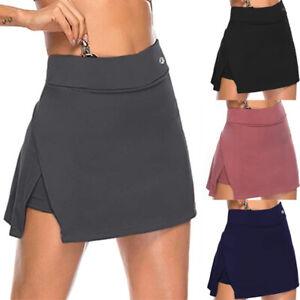 Womens Ladies Double-Layer High Waist Sports Skort Gym Yoga Shorts Mini Skirts