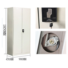 2 DOOR STEEL CABINET 185X90X45 CUPBOARD FILING METAL LOCKER STORAGE FILE STORAGE