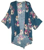 Maurices Rayon Navy Long Floral Kimono Cardigan Size S/M 3/4 Sleeves