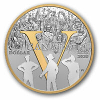 2020 Canada 75th anniv of VE-day dollar gold plated silver - coin only