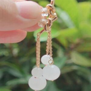 Natural white jade Earrings Dangle 18KGP Chain girl gift Diy Fashion