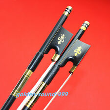 2pc black 4/4 Carbon fiber violin bow professional white horse hair Ebony frog