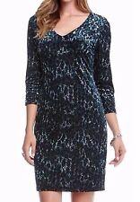 NEW Karen Kane Plus Size 2X Burnout Dazzling Blue Sheath Dress, Retail $148