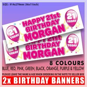 2x PERSONALISED BIRTHDAY BANNERS  1st 5th 16th 18th 21st 30th ANY NAME AGE TODAY