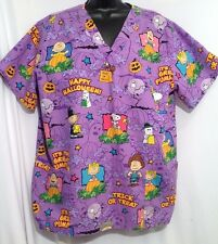 Peanuts sz XL HALLOWEEN Print Snoopy Dog Purple Nursing Scrub Top Uniform Shirt
