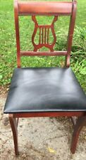 "Vintage Harp Back Dining Side Chair Black Seat 18""h x 33""h back x 16""d x 17.5""w"