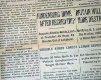 HINDENBURG Airship Zeppelin & Mobster Crime Boss LUCKY LUCIANO 1936 Newspaper