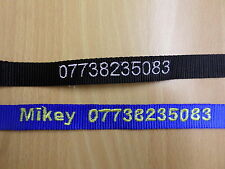 Adjustable Dog collar personalised embroidered with Name, Number, Name & Number