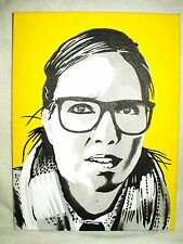Canvas Painting Ingrid Oliver Yellow B&W Art 16x12 inch Acrylic
