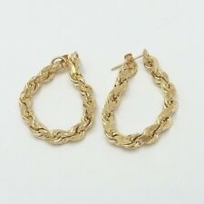 New 14k  Gold 4mm Round Rope Link Hoop Post Earrings