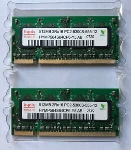 Hynix 1GB (2 X 512MB) 2RX16 PC2-5300S-555-12 LAPTOP RAM HYMP564S64BP6-Y5 AB