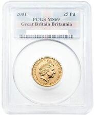 Great Britain 2001 Britannia (Una and the Lion) 25 Pounds 1/4 oz Gold PCGS MS-69