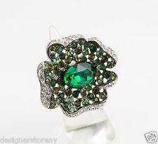 Kenneth Jay Lane Gunmetal multi green emerald center flower ring