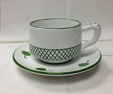 "DERUTA ""GIARDINO"" CAPUCCINO CUP & SAUCER TOPIARY HAND PAINTED POTTERY ITALY"