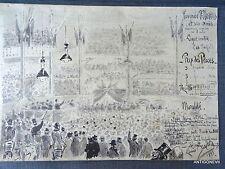 INTERESSANT DESSIN ENCRE ET LAVIS: TOURNEE MORES ET SES AMIS SIGNEE 1893
