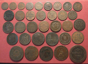 MIXED LOT (34) WORLD COPPERS, ALL PRE-1900, VARIOUS COUNTRIES, STATES, COLONIES!