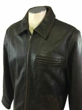 American Eagle Outfitters Brown Leather Jacket Full Zip L AEO Mens Motorcycle