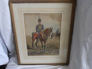 Org Watercolour Drawing Circa 1880s Mounted Officer of The 10th Hussars