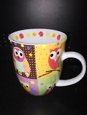 Large Coffee Mug. So Cute Colorful Owls In Squares. Creative Tops. Pink 16oz New