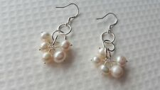 FRESHWATER CULTURED PEARL AND STERLING SILVER EARRINGS.