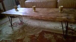 A rustic loft/Industrial coffee table.
