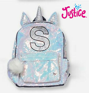 """New Justice Girl's Initial """"S"""" Silver Iridescent Sequin Pom Pom Unicorn Backpack"""