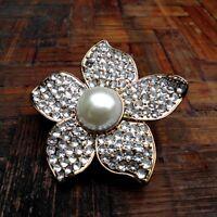 Bague extensible grande fleur en or et blanc style vintage avec cristal