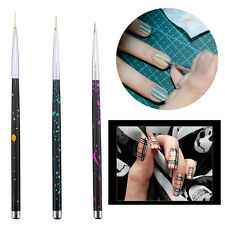3X Brosse Pinceau Ongle Vernis Liner Dotting Dessin Peinture Stylo Nail Art Tips