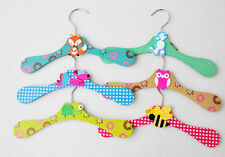 10pcs Assorted Color Animal Wooden Clothes Hanger for Kids Children Gr-035