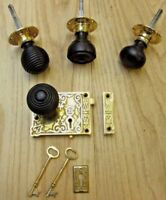 SOLID BRASS VINTAGE VICTORIAN OLD STYLE RIM DOOR KNOB SET + LOCK