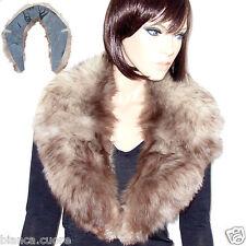COLLO VOLPE Pelliccia bianco e castano modello Grande per giacca cappotto F000