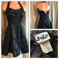 80's Party Prom Dress Sequin Beaded Floral Bodice Black Tapestry Ball Gown 5/6
