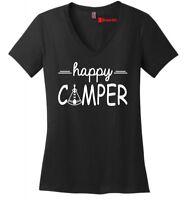 Happy Camper Ladies V-Neck Shirt Camping Trip Hiking Girlfriend Gift Soft Tee Z5