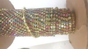 10 feet,swarovski rhinestone chain,32pp light multi color,high polish.bras #1100