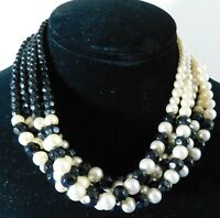 Vintage Faux Pearl Beaded Necklace Black Glass Beads Five Strands