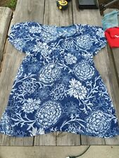 Blue And White Floral Blouse Tunic Womens Size14 Europe 42 ShortSleeve Beautiful