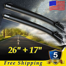 "26"" & 17"" INCH Pair Bracketless Windshield Wiper Blades J-HOOK OEM QUALITY"
