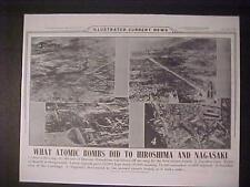 VINTAGE NEWSPAPER HEADLINE~WORLD WAR HIROSHIMA NAGASAKI JAPAN ATOMIC BOMBED WWII